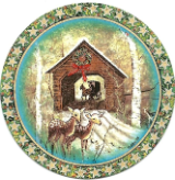 "P. BUCKLEY MOSS ORNAMENT "" WINTER AT MEEMS BOTTOM BRIDGE """
