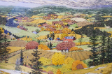 "SUSAN HUNT-WULKOWITZ  HAND-COLORED ORIGINAL "" AUTUMN IN THE VALLEY """
