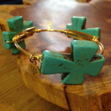 """ BOURBON & BOWETIES "" LARGE TURQUOISE CROSS"