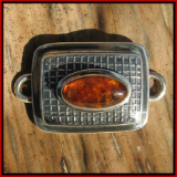 TABRA EMBOSSED RECTANGLE WITH AMBER CONNECTOR CHARM