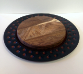 """ WOODEN CHEESE PLATE W/ IRON CHARGER """