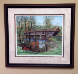 "P. BUCKLEY MOSS FRAMED GICLÉE ""CONCORD COVERED BRIDGE"" LARGE"