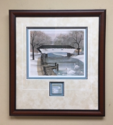"P. BUCKLEY MOSS FRAMED PRINT "" DOE RIVER BRIDGE "" WITH PLAQUE"