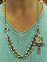 PURE SANCTUARY NECKLACE: Apatite and Champagne Pearls with Byzantine Charm Collection