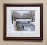 "P. BUCKLEY MOSS FRAMED PRINT "" DOE RIVER BRIDGE """