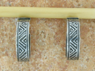 "TABRA ETHNIC ""V"" PATTERN HOOP EARRINGS ON POSTS"