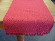 RED SOLID HONEYCOMB TABLE RUNNER