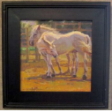 """WHITE MARES"" BY V. VAUGHAN FRAMED"