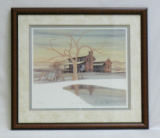 "P. BUCKLEY MOSS FRAMED PRINT "" CABIN IN THE HILLS """