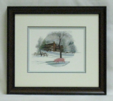 "P. BUCKLEY MOSS FRAMED PRINT "" LOG CABIN """