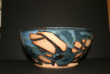 PAUL GASKINS SMALL BLUE/TAN SALAD BOWL