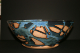 PAUL GASKINS BLUE/TAN SALAD BOWL