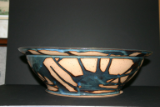 PAUL GASKINS LARGE BLUE/TAN BOWL W/ LIP