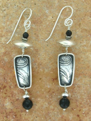 TABRA EMBOSSED SILVER LEAF WITH BLACK ONYX EARRINGS ON WIRES