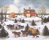 "LINDA NELSON STOCKS "" FOUR HORSE HITCH "" LITHOGRAPH PRINT"