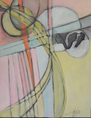 "HEIDI MAYFIELD "" ON A WIRE I "" ORIGINAL MIXED MEDIA"