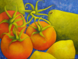 "HEIDI MAYFIELD "" TOMATOES PEARS AND LEMONS "" ORIGINAL ACRYLIC"