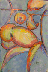 "HEIDI MAYFIELD "" BLUE NUDE II "" ORIGINAL MIXED MEDIA"