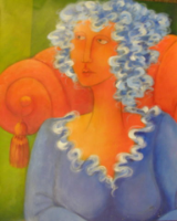 "HEIDI MAYFIELD "" BLUE HAIR WOMAN "" ORIGINAL ACRYLIC"