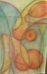 "HEIDI MAYFIELD "" ORANGE NUDE "" ORIGINAL MIXED MEDIA"