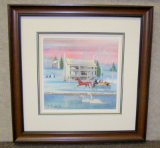 "P. BUCKLEY MOSS FRAMED PRINT "" WINTER AT THE INN """