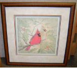"P. BUCKLEY MOSS FRAMED PRINT "" WINTER TOGETHER "" Cardinals"