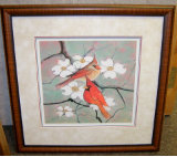 "P. BUCKLEY MOSS FRAMED PRINT "" SPRING TOGETHER "" Cardinals"