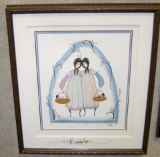 "P. BUCKLEY MOSS FRAMED PRINT "" SISTERS TOGETHER """