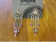 TABRA CHAIN LINK PAUA SHELL AMETHYST COPPER EARRINGS ON POSTS