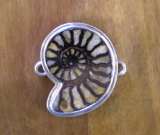 TABRA OOAK SPIRAL SHELL IN STERLING SILVER CONNECTOR CHARM