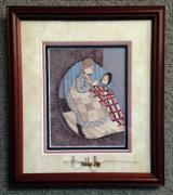 "P. BUCKLEY MOSS "" GRANNY'S LESSON "" FRAMED"