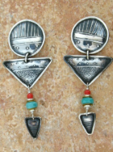 TABRA CIRCLE AND TRIANGLE TURQOISE AND CORAL EARRINGS ON POSTS