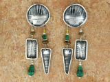 TABRA MALACHITE AND BRONZE BEAD EARRINGS ON WIRES