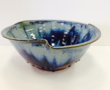 "RAY POTTERY "" LARGE TULIP BOWL "" PEACOCK"