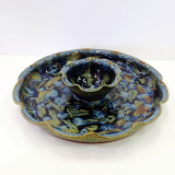 "RAY POTTERY "" PEACOCK CHIP N' DIP """