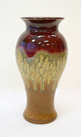 RAY POTTERY RED TALL VASE