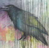 "HEIDI MAYFIELD "" RAVEN IV "" ORIGINAL MIXED MEDIA PAINTING"