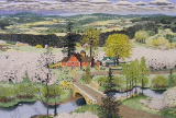 "SUSAN HUNT-WULKOWITZ  -  HAND-COLORED ORIGINAL "" SPRING - THE ORCHARD """