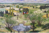 "SUSAN HUNT-WULKOWITZ  -  HAND-COLORED ORIGINAL "" SUMMER - THE POND """