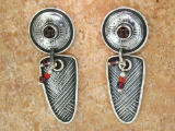 TABRA EMBOSSED GARNET AND CORAL EARRINGS ON POSTS
