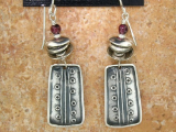 TABRA SILVER RECTANGLES WITH GARNET EARRINGS ON WIRES