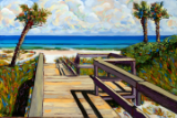 "LARRY SMITH "" BEACH WALK WITH THREE PALMS "" ORIGINAL OIL ON CANVAS"