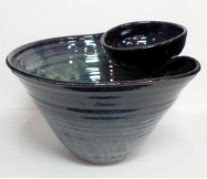 KIMBERLY GREY POTTERY CHIP AND DIP BOWL