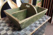 ANTIQUE GREEN WOODEN CONTAINER