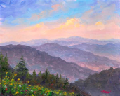 "JEFF PITTMAN "" HILLSIDE FLOWERS "" GICLEE' ON CANVAS"