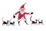 "P. BUCKLEY MOSS PRINT "" KRIS KRINGLE'S CATS """