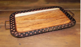 METAL AND WOOD LARGE CHEESE PLATTER 2