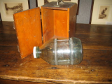 ANTIQUE GLASS MINNOW TRAP IN CARVED WOODEN BOX
