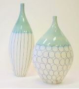 CERAMIC VASE SET WITH WHIMSICAL CIRCLES