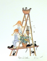 "P. BUCKLEY MOSS PRINT "" PIGTAILS AND CATTAILS """